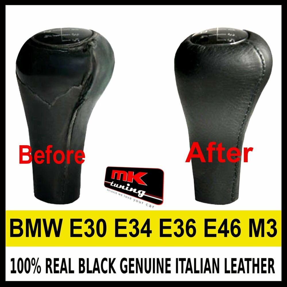Bmw E30 E34 E36 E46 M3 Black Genuine Leather Gear Knob