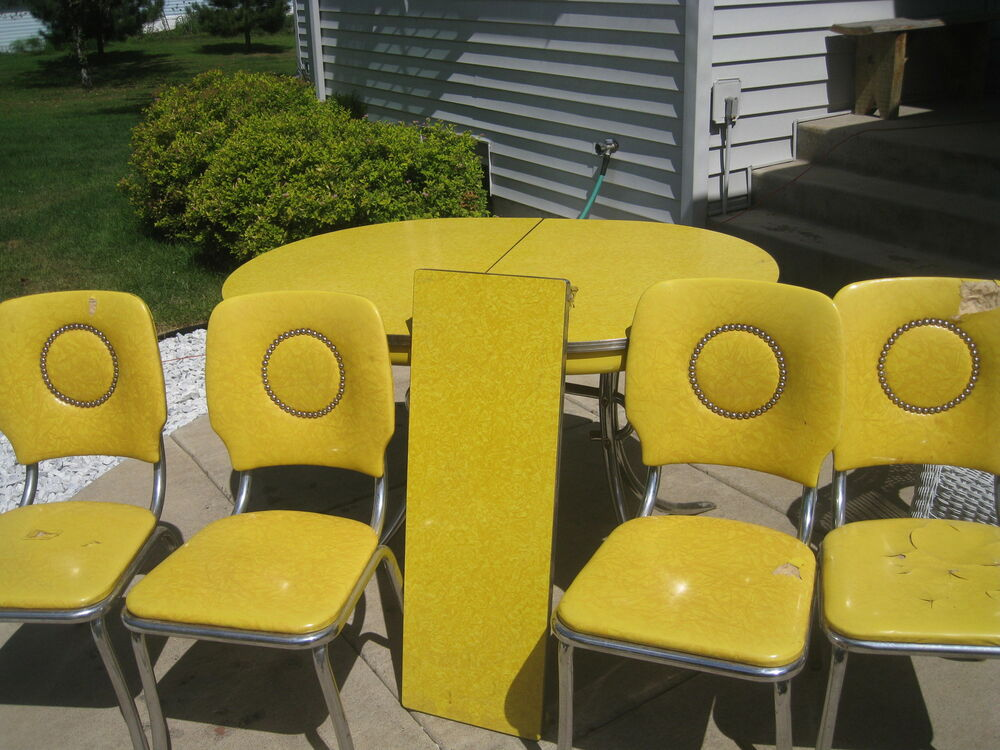 Retro Vintage 1950 S Chrome Yellow Dining Table And 4