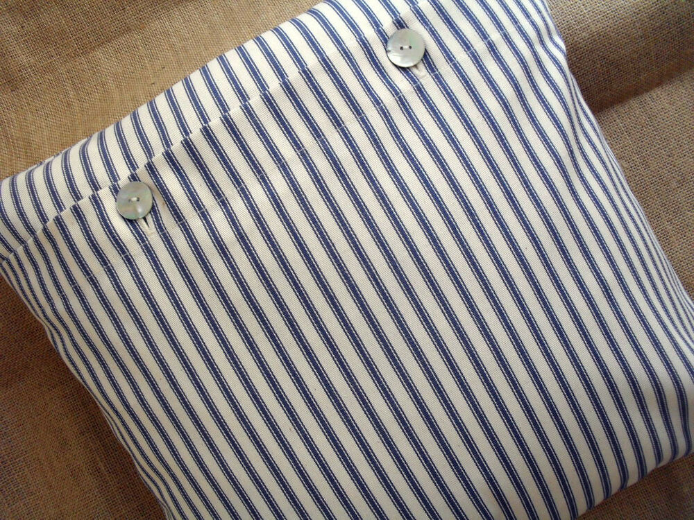 16 Quot Navy Blue Amp Cream Striped Ticking Cushion Cover Ebay