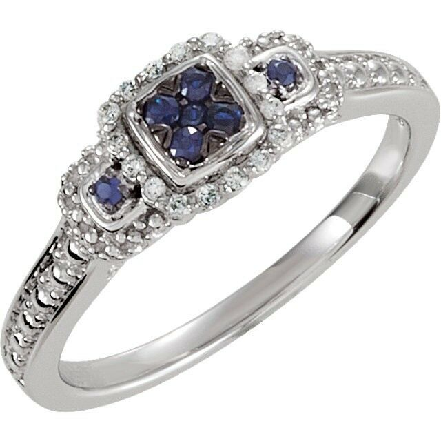 genuine blue sapphire and promise ring sterling