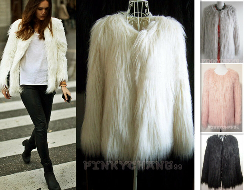 6 Colors Trend Long Hair Faux Fur Coat Jacket (S/M/L/XL/XXL/XXXL