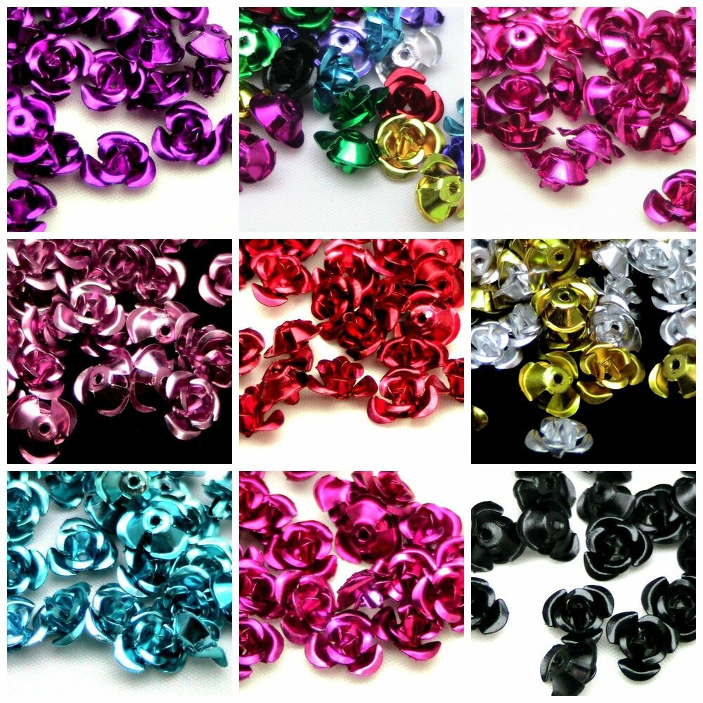 Bead Charms For Bracelets: 100pcs Rose Flower Aluminum Jewelry Making Spacer Beads