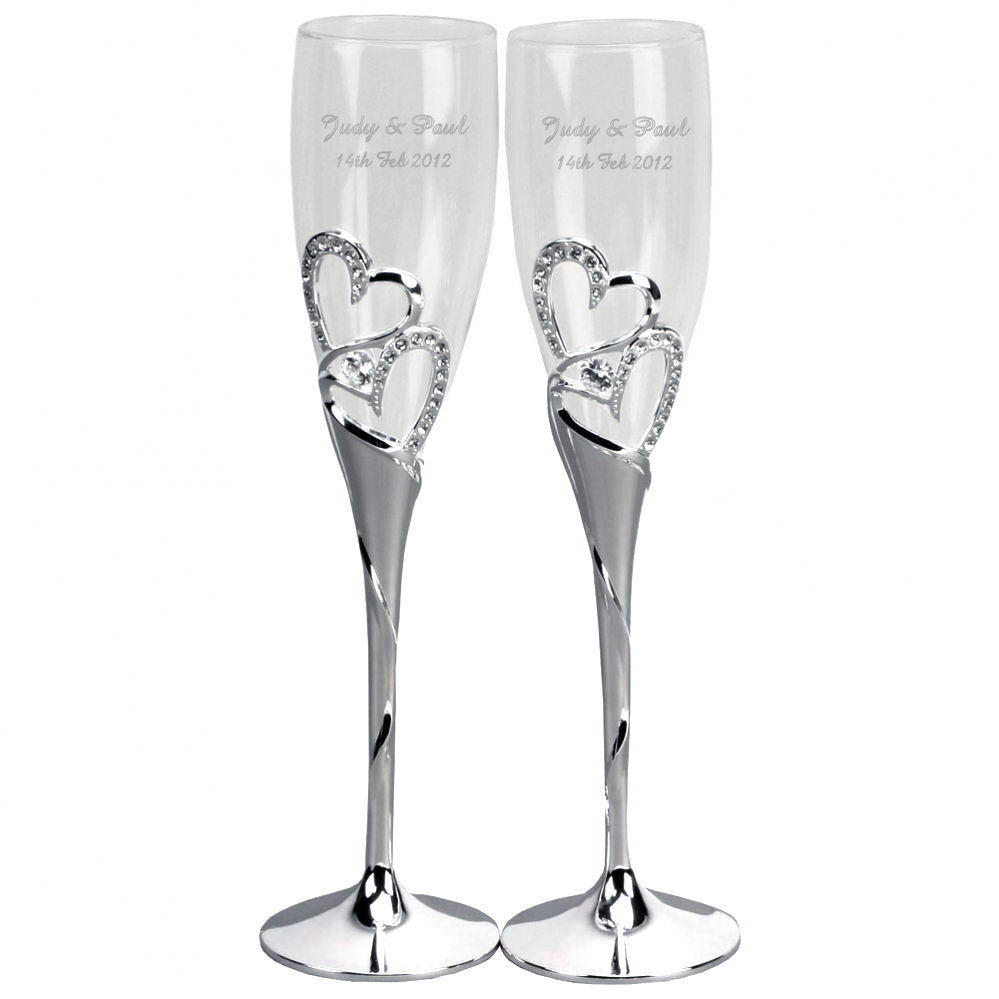 personalised heart champagne flutes wedding engagement valentines