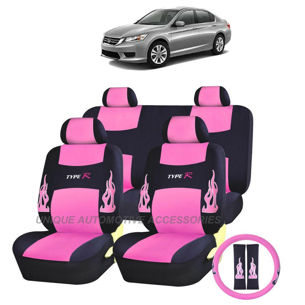 pink flames complete seat covers 13pc set for honda accord ebay. Black Bedroom Furniture Sets. Home Design Ideas