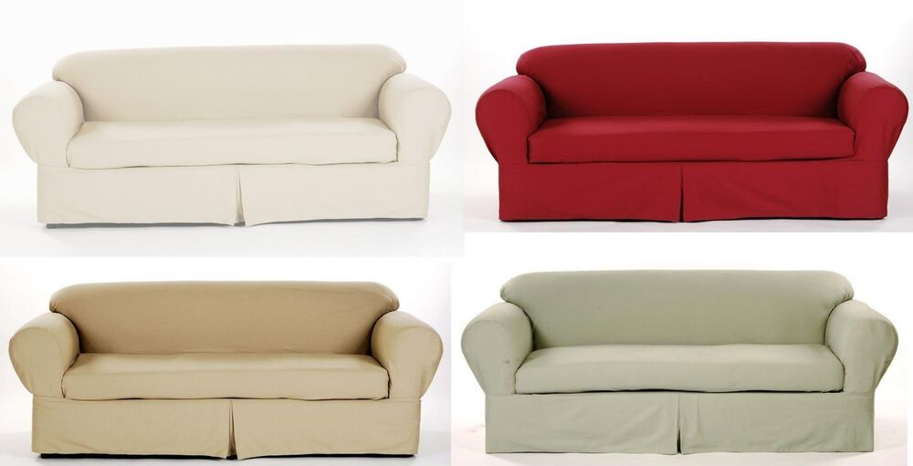 All Cotton Brushed Twill 2 Piece Sofa Couch Slip Cover In