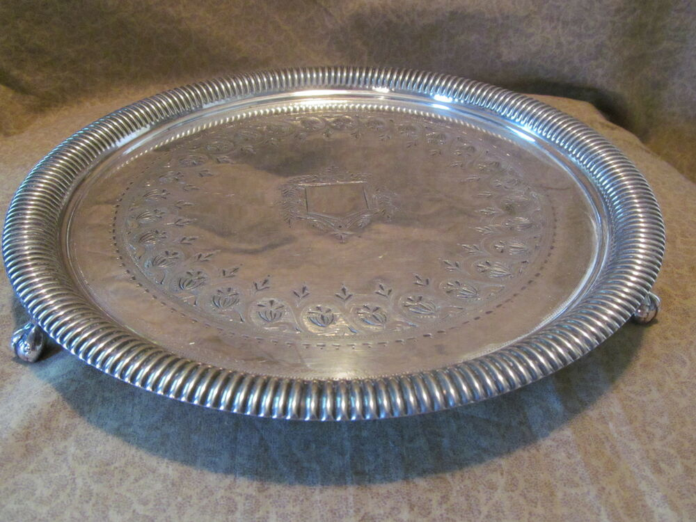 Antique English Silver on Copper Silverplate Footed Tray ...