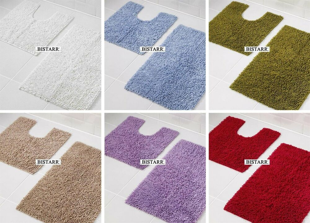 2 Piece 100 Cotton Chenille Bath Mat Set Pedestal Floor