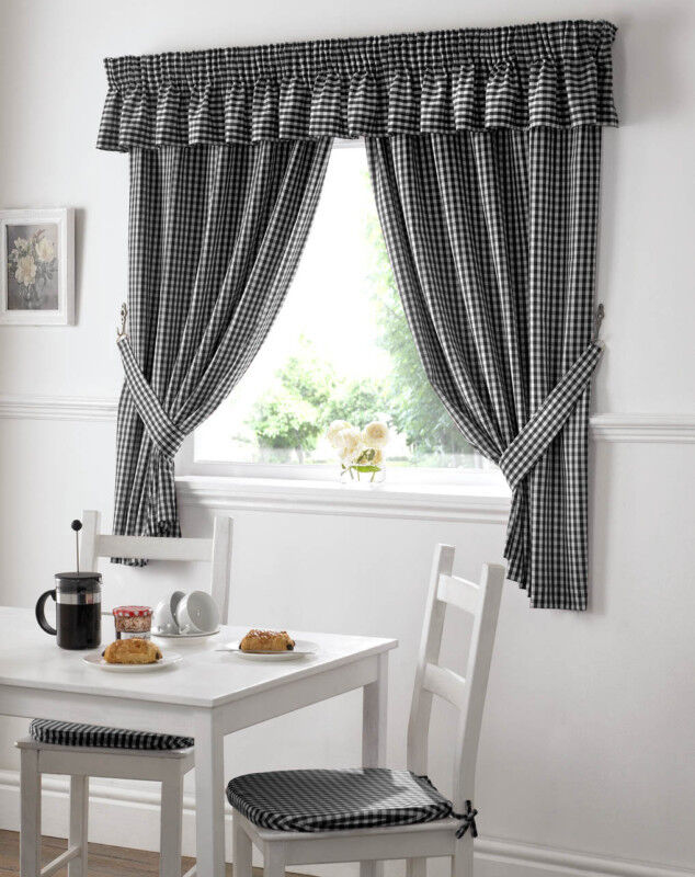 Gingham Check Black White Kitchen Curtains Drapes W46 X L54 Tiebacks Included Ebay