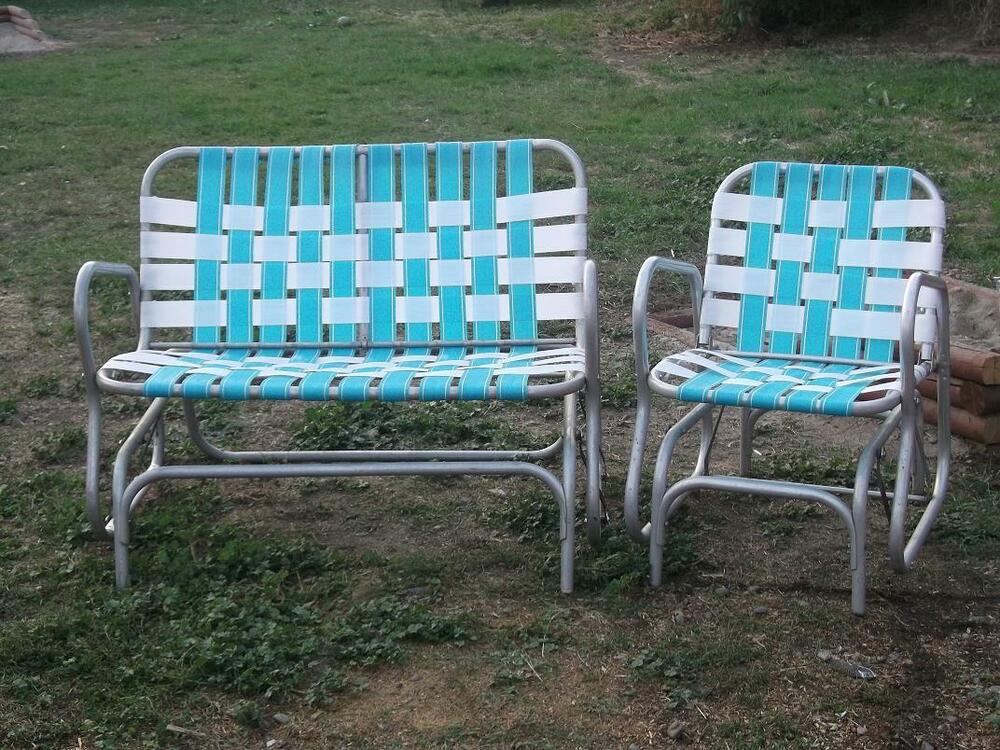 Rare vintage aluminum webbed double glider lawn chair set for Lawn chair webbing