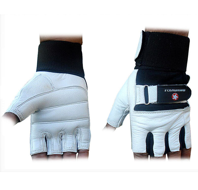 Weight Lifting Gloves Leather Fitness Gym Training Workout: Maximuscle Heavy Duty Weight Lifting Gloves Gym Training