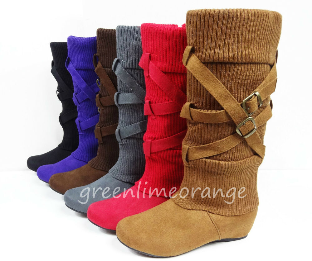 new s suede mid calf comfy fashion buckled wedge