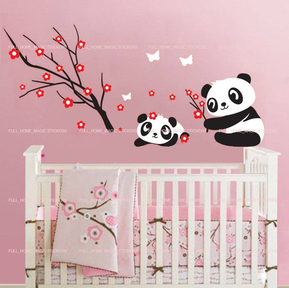 Cute panda bears play wall stickers removable nursery baby for Baby mural stickers