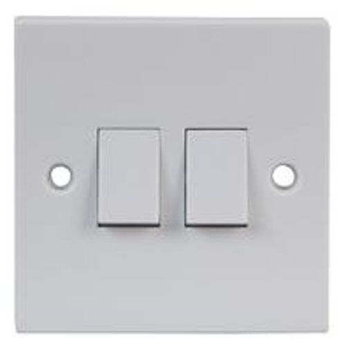 White Double 2 Way Electric Light Switch Box 2 Gang Electrical Wall 10 amp eBay