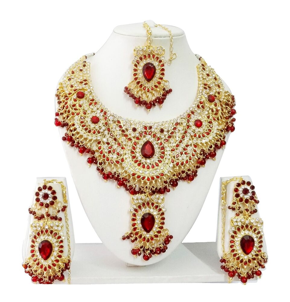 Indian Jewellery And Clothing: Indian Bollywood Costume Kundan Diamante Necklace Set