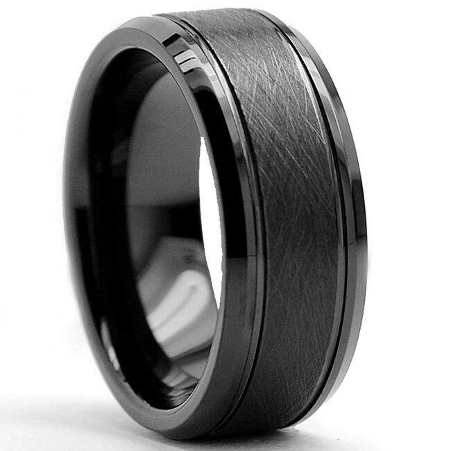 mens black wedding rings tungsten carbide men s black brushed textured center ring 5788