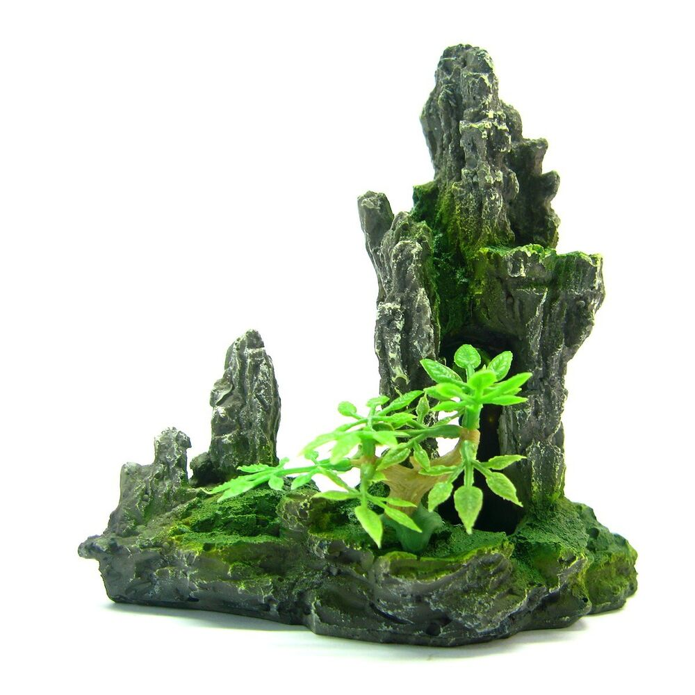 Mountain aquarium ornament tree rock cave stone hide for Aquarium stone decoration