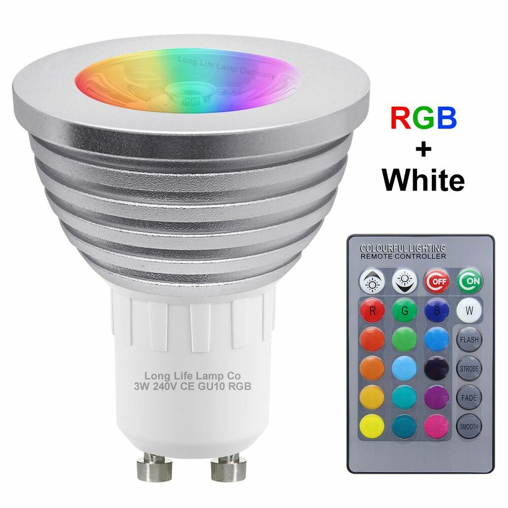 gu10 led remote control colour changing light bulb 3w 16 colours energy saving ebay. Black Bedroom Furniture Sets. Home Design Ideas