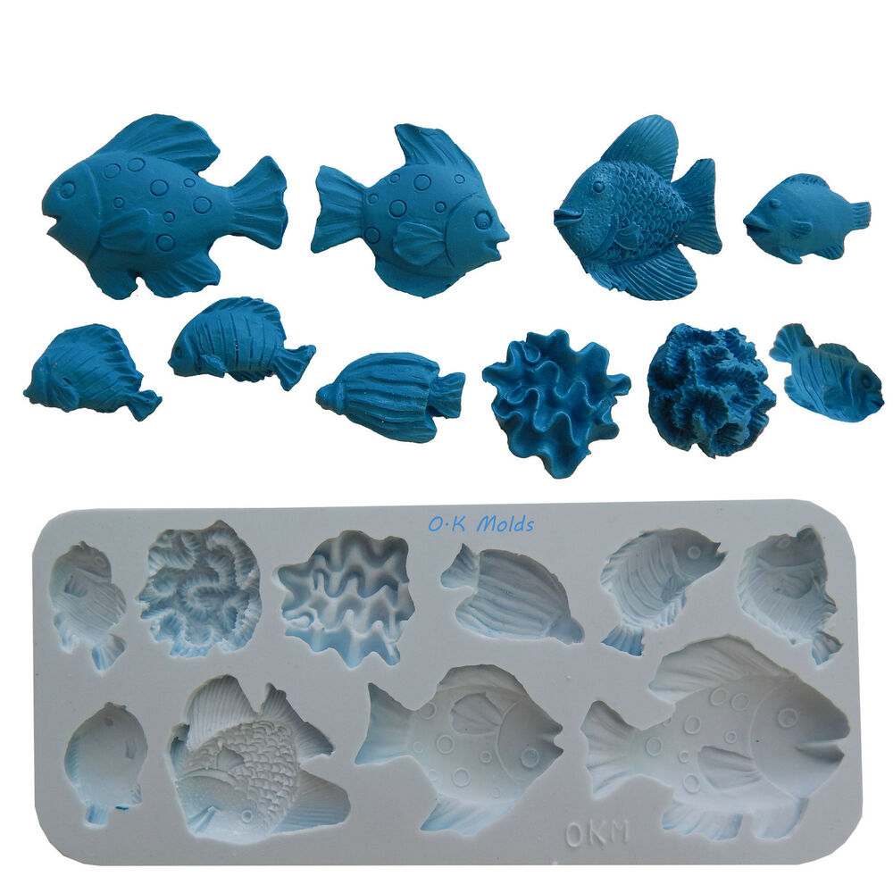 Ok molds silicone decorating fondant gompaste supply fish for Silicone fish molds