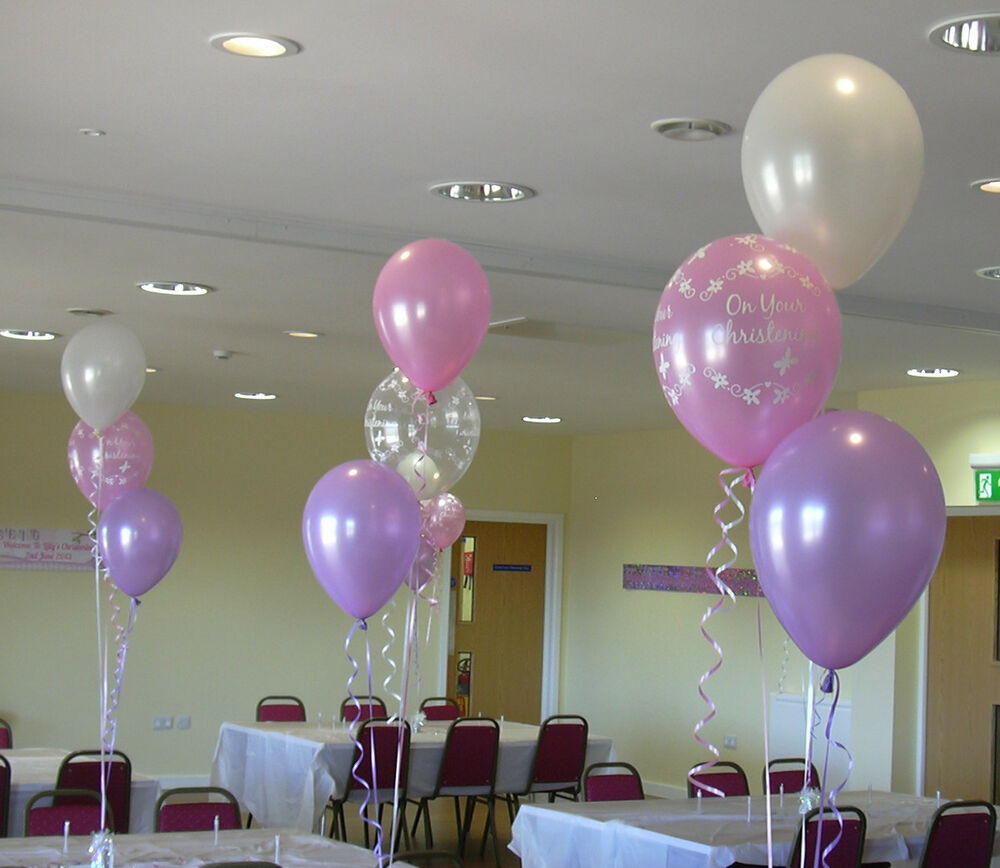 Christening balloon cluster diy party kit for boy or girl for Balloon cluster decoration
