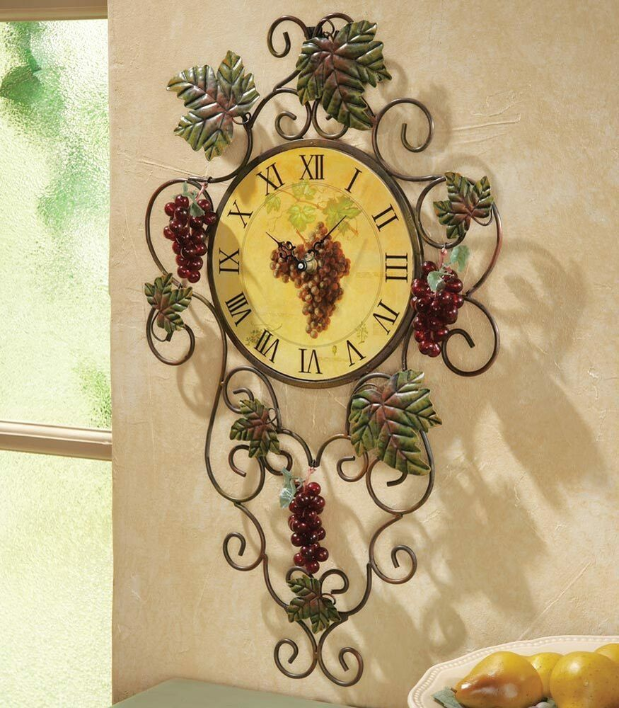 3D Vineyard Metal Kitchen Grape Vine Wall Clock Decor Art