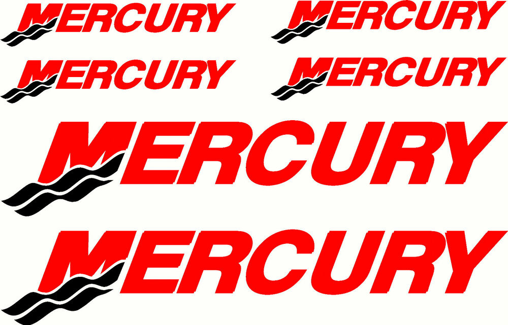 Mercury fishing boat sticker decal marine set of 6 ebay for Fishing boat decals