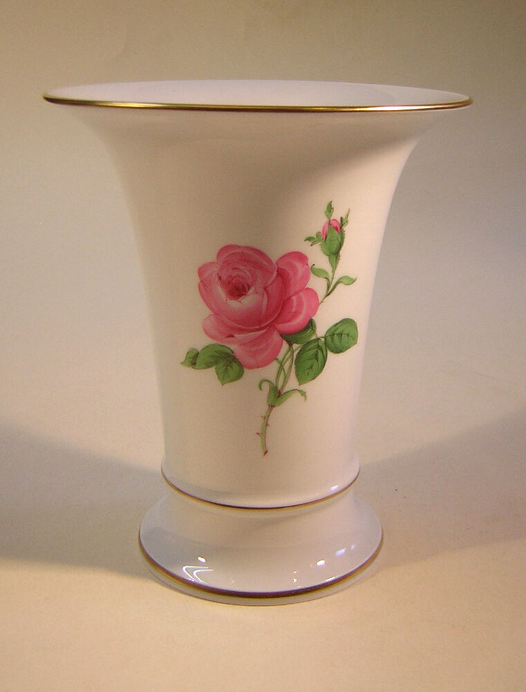 meissen porzellan vase kratervase rose blumen gold handbemalt 16 5 cm ebay. Black Bedroom Furniture Sets. Home Design Ideas