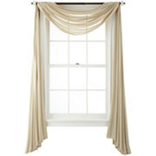 1 pcs sand color coffee scarf voile window panel solid