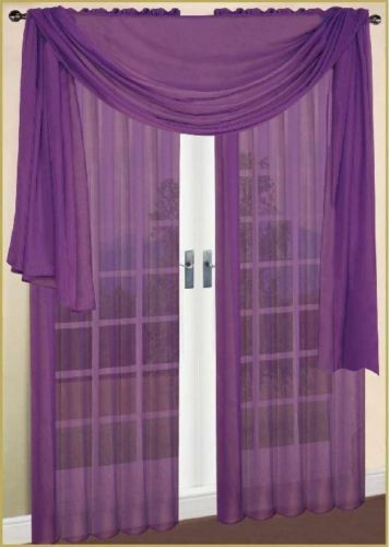 1 Pcs Purple Scarf Voile Window Panel Solid Sheer Valance