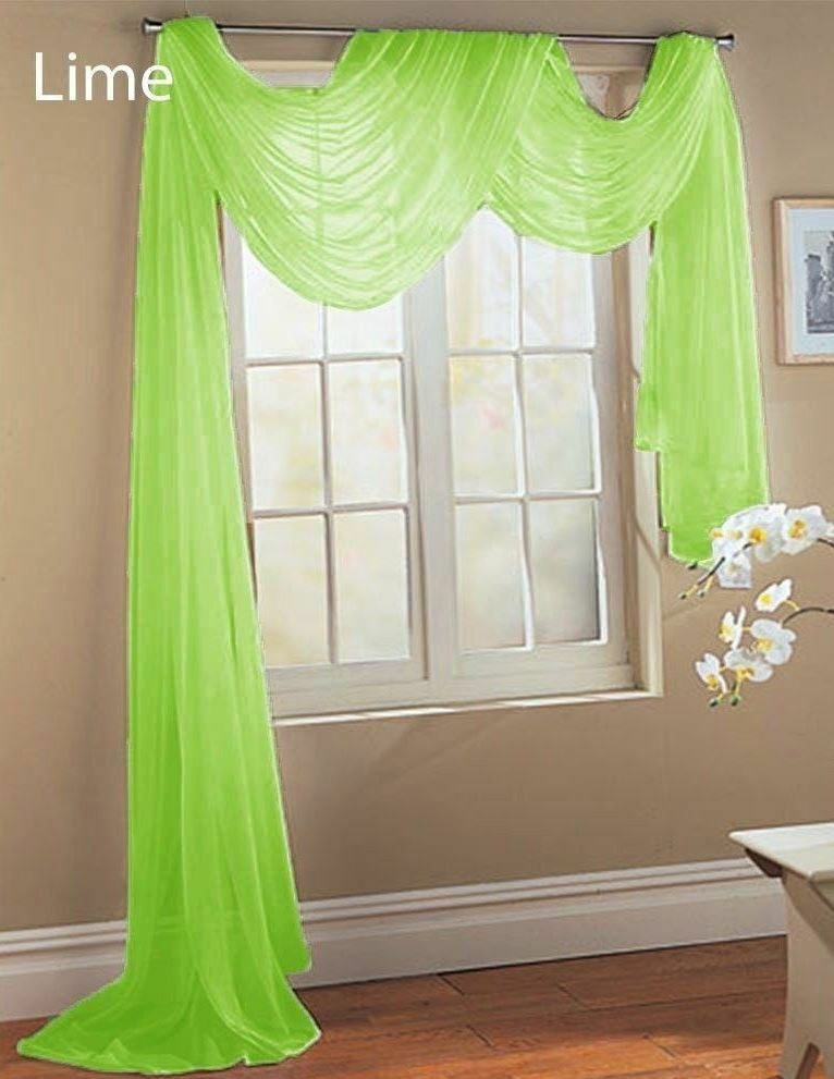 1 Pcs Lime Green Scarf Voile Window Panel Solid Sheer
