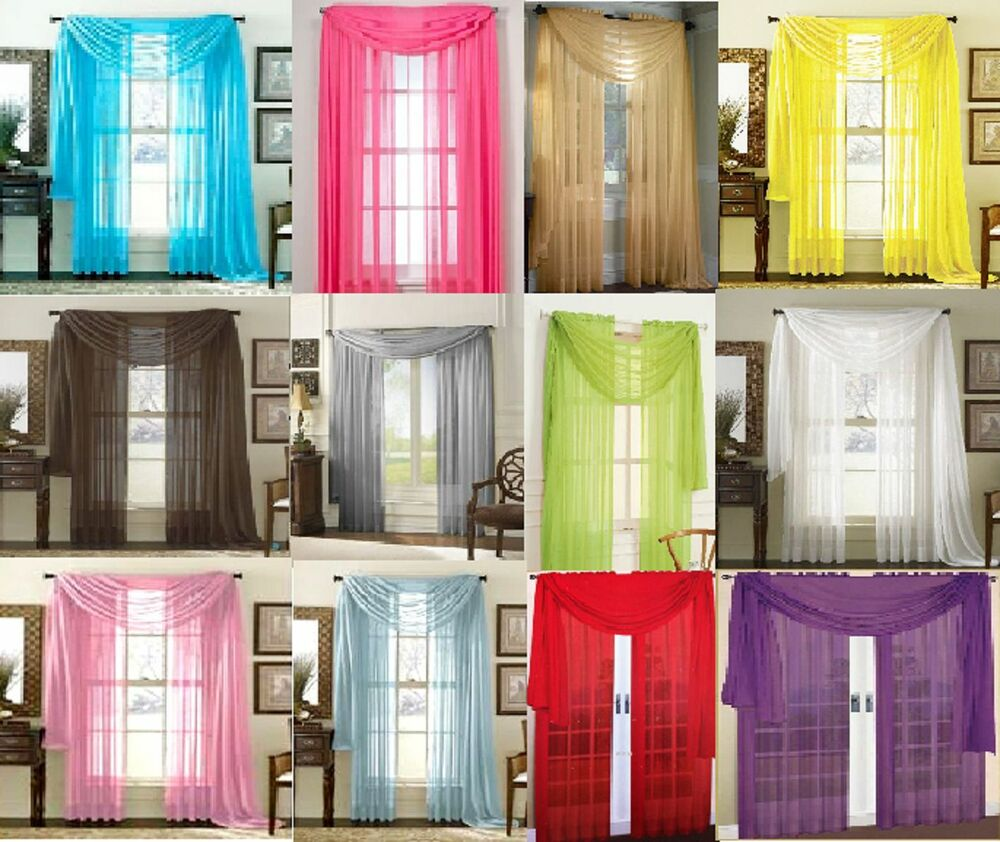 SHEER SCARF VALANCE DRAPES Voile Window Panel Curtains 20 Diff Colors SALE