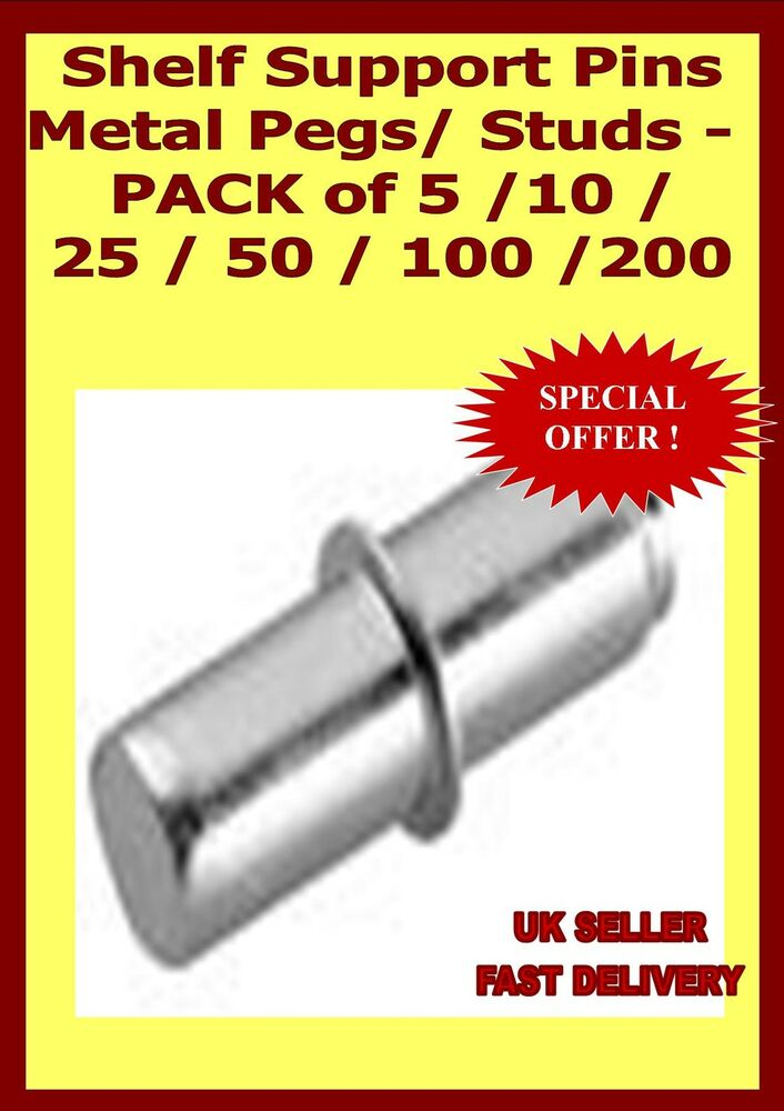 Shelf Support Pins Metal Pegs Studs Pack Of 5 10 25
