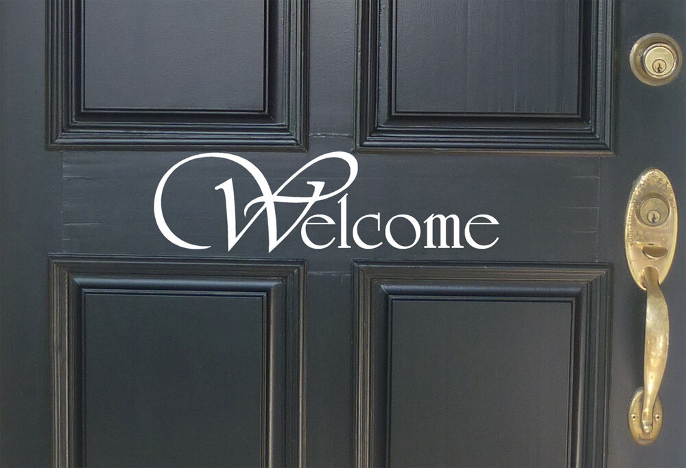Welcome front door decal wall art vinyl decal decor for Door mural decals