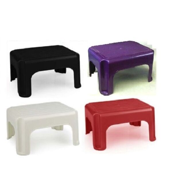 Whitefurze Plastic Step Stool Cream Red Black Colours Home