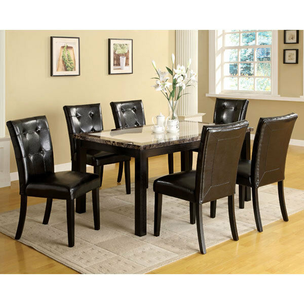 solid wood casual faux marble top dining table set ebay. Black Bedroom Furniture Sets. Home Design Ideas