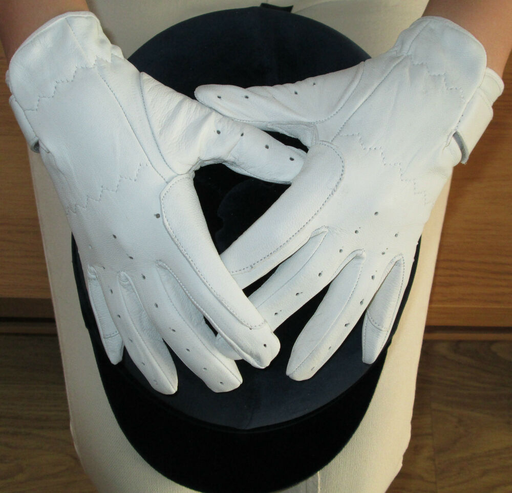 Ladies leather gloves xs - Ladies White Or Cream Leather Dressage Gloves Horse Riding Small Medium Large Xs