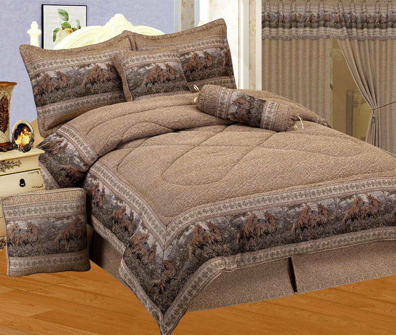 New wild horse comforter set western bedding twin full - Complete bedroom sets with curtains ...