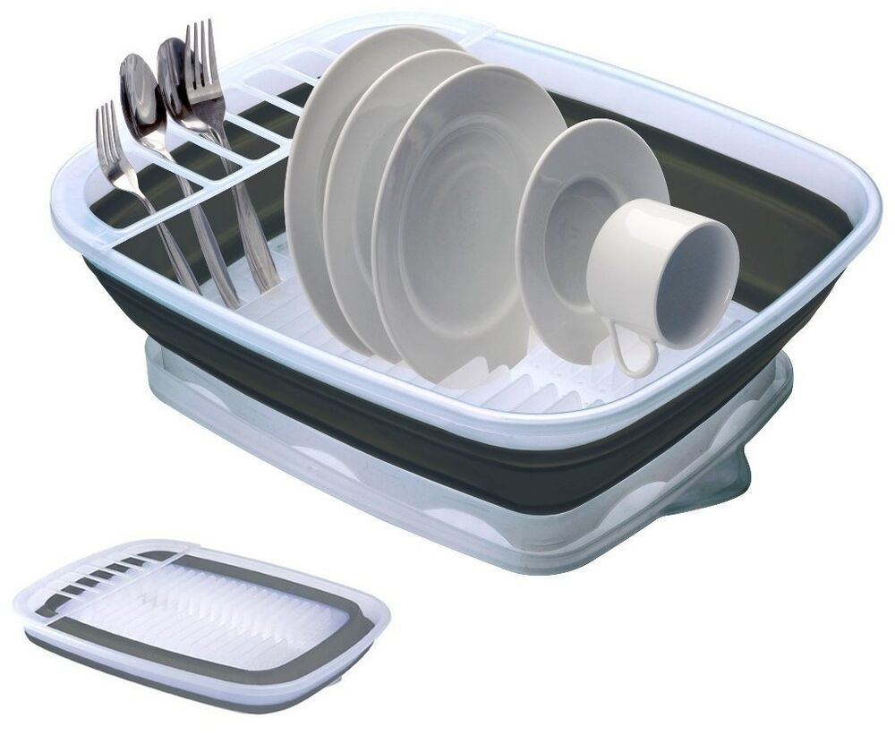 Collapsible Dish Rack With Snap Drain Board Stores