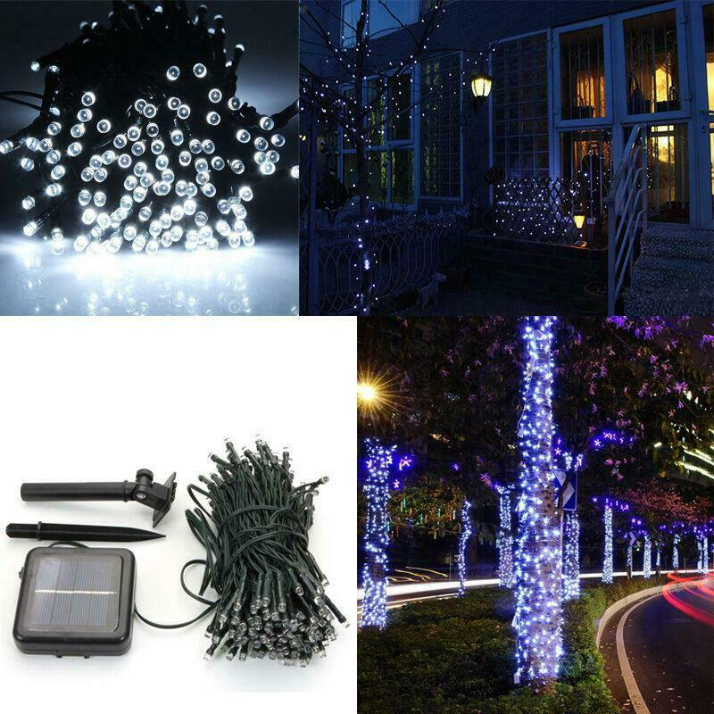 Outdoor String Lights White: 10M 100 LED Pure White Solar Power String Lights Outdoor