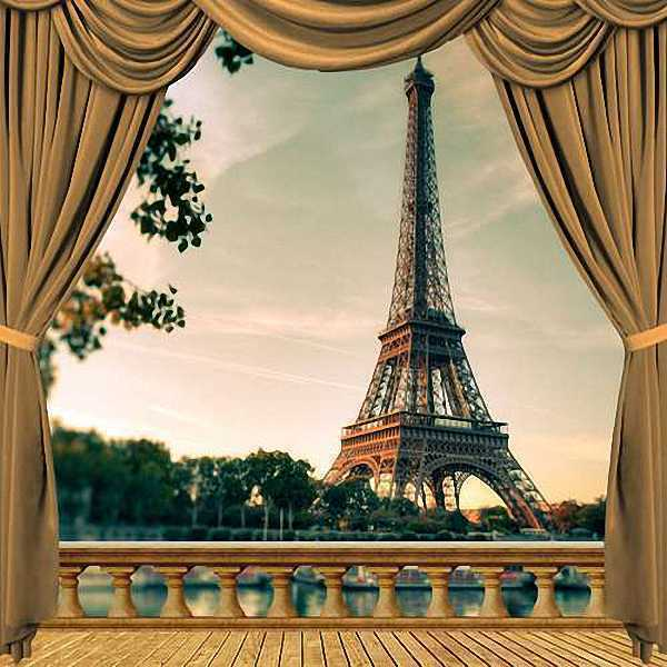 eiffel tower 10 39 x10 39 cp backdrop computer painted scenic background zjz 037 ebay. Black Bedroom Furniture Sets. Home Design Ideas