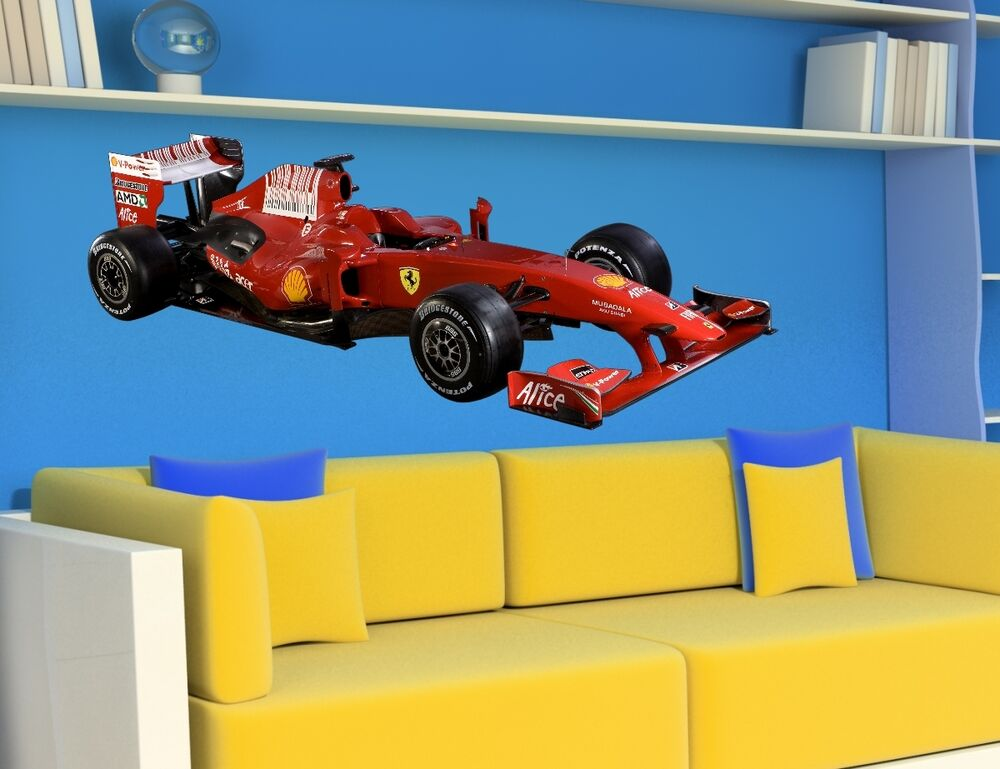 Wall stickers formula 1 ferrari racing car kids bedroom for Cars wall mural sticker