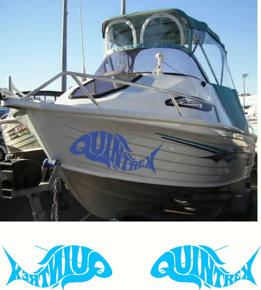 Quintrex Fish Fishing Boat Mirrored Sticker Decal Set