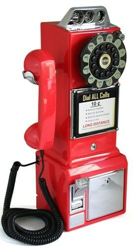 Retro Classic Vintage Reproduction Red Corded Payphone