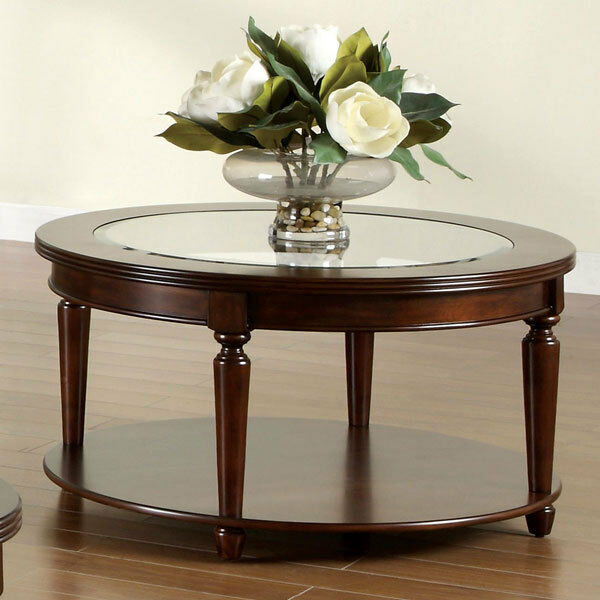 Elisha Dark Cherry Finish English Style Beveled Glass Top Round Coffee Table Ebay