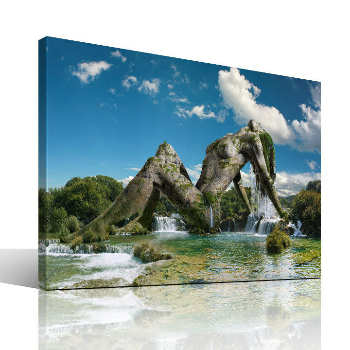 wassernixe leinwandbild coole landschaft bilder fantasy kunst wellness modern ebay. Black Bedroom Furniture Sets. Home Design Ideas