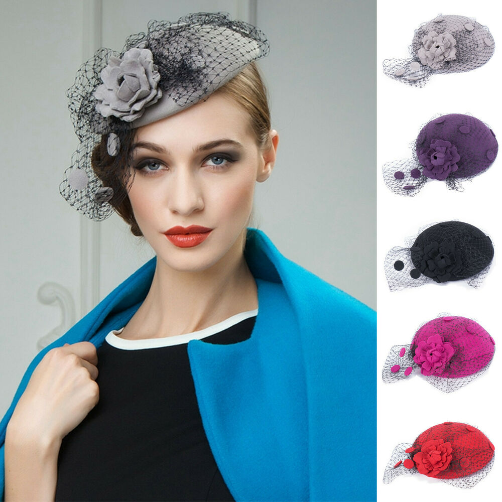 womens wool felt formal hat fascinator cocktail church