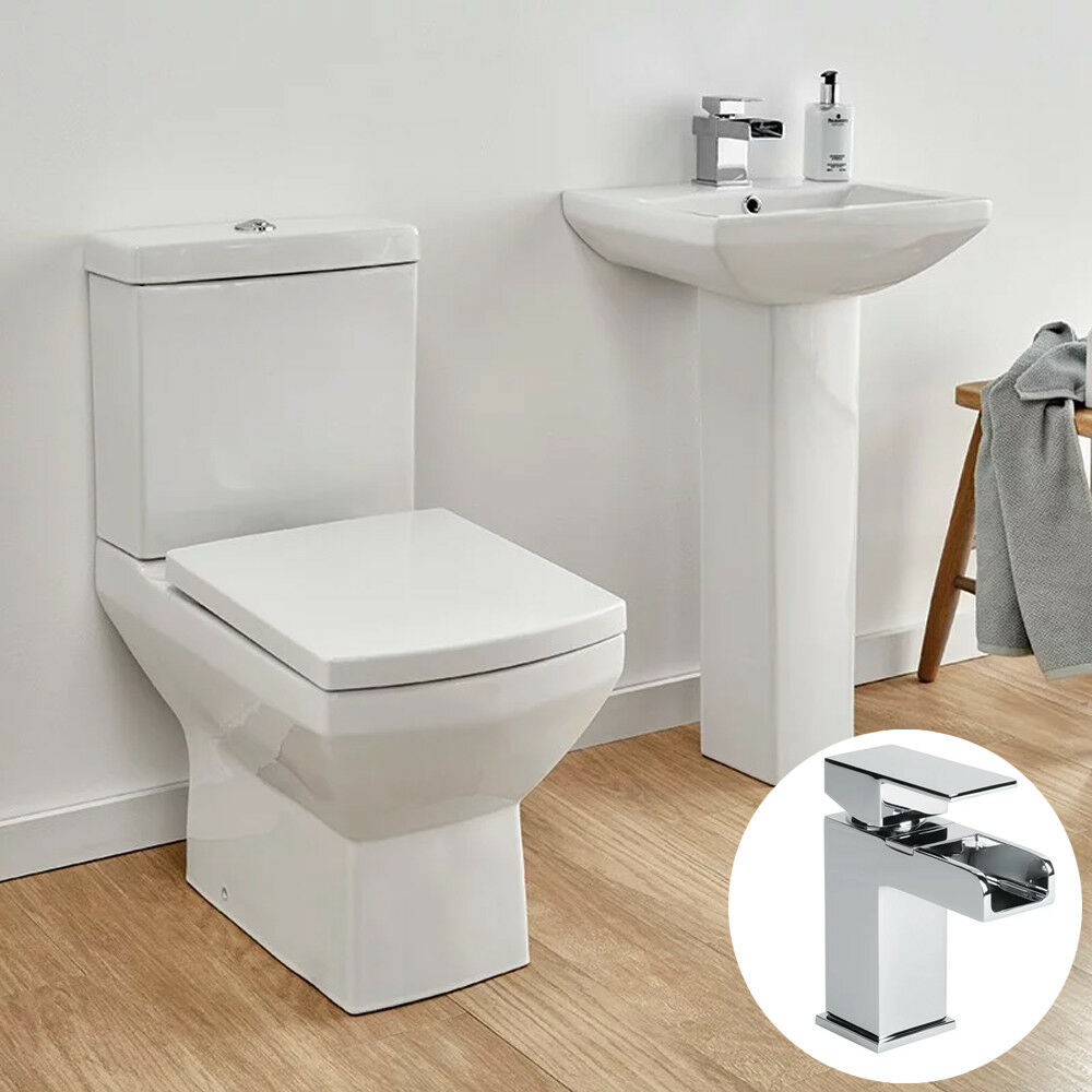 Square 3 piece ceramic toilet basin sink waterfall mono for Bathroom 3 piece suite