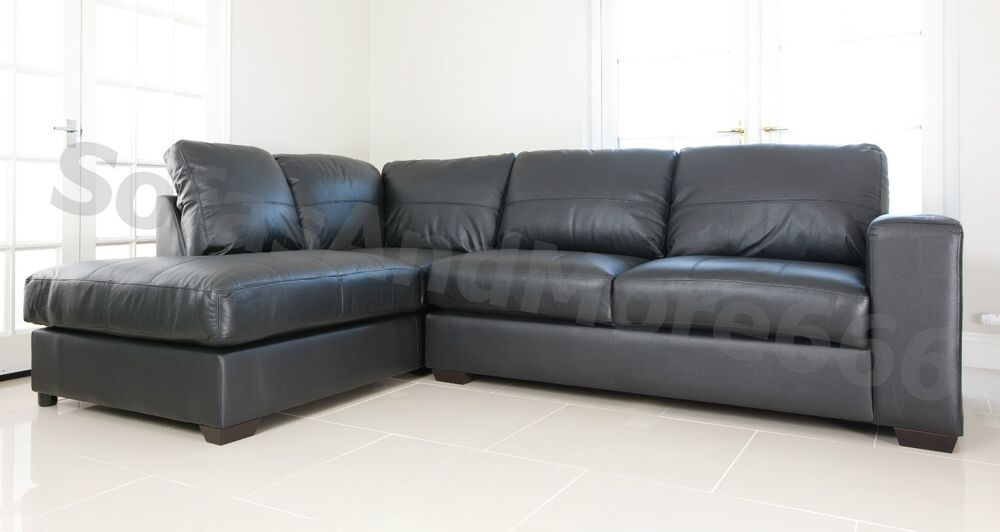 Brand New Westpoint Corner Sofa Faux Leather Black