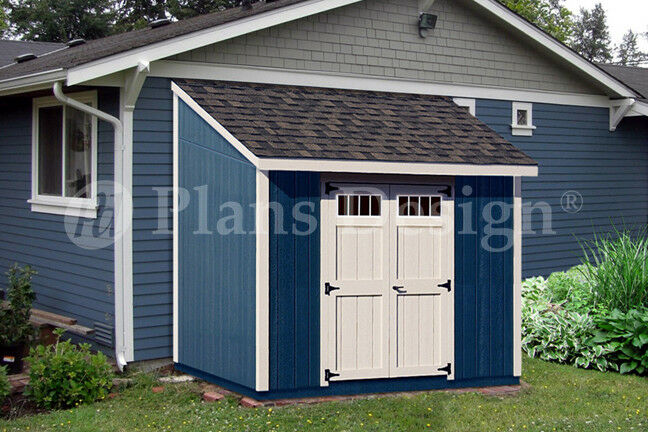 Shed plans 8 39 x 8 39 deluxe lean to roof style d0808l for Lean to style house plans