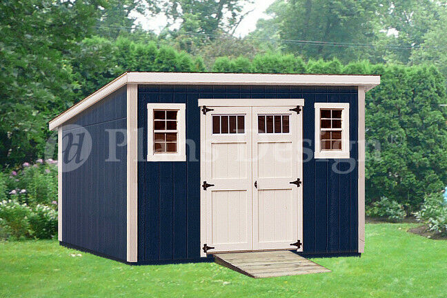 Shed plans 10 39 x 14 39 deluxe modern roof style d1014m for Building a shed style roof
