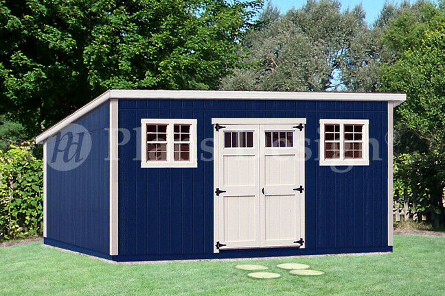 10 39 x 20 39 deluxe modern backyard storage shed plans for Modern garden shed designs